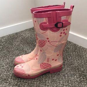 Women's pink heavy duty rain boots